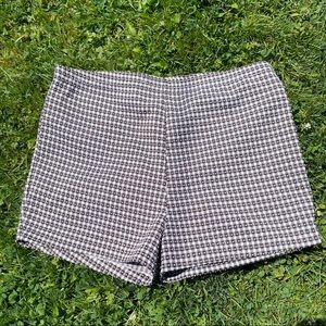 Brown and white checkered shorts
